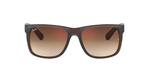 Ray-Ban RB4165 Justin Rectangular Sunglasses, Brown/Brown Gradient Mirror, 54 mm
