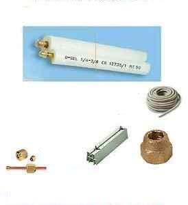 Kit montaggio condizionatore - 3mt rame 1/4' + 3/8' con basi per unità esterna lunghezza 35cm