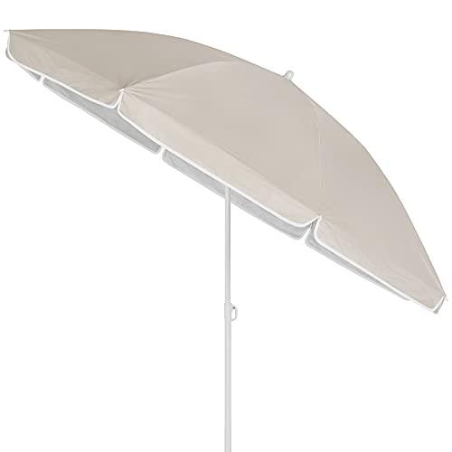 Kingsleeve Sombrilla Parasol Crema 200cm con Altura Ajustable e inclinación Quitasol para Playa