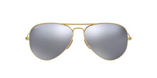 Ray-Ban RB3025 Óculos de sol aviador clássico espelhado, dourado fosco/flash de prata polarizado, 58 mm