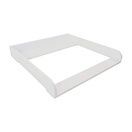 Puckdaddy Wickelaufsatz Lasse – 80x80x10 cm, Wickelauflage aus Holz in Weiß, hochwertiger Wickeltischaufsatz passend für IKEA Hemnes Kommoden, inkl. Montagematerial zur Wandbefestigung