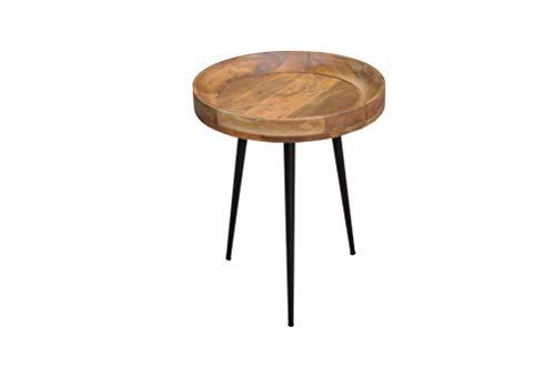 DuNord Design bijzettafel natuur massief hout Mango 54 cm rond