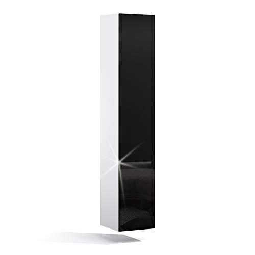 PLATAN ROOM Badezimmer Hängeschrank Wandschrank 105/ 160cm hoch Badhängeschrank mit Fronten in Hochglanz und Push-to-Open Funktion (Weiß Matt/Schwarz Hochglanz, 160 x 30 x 32)