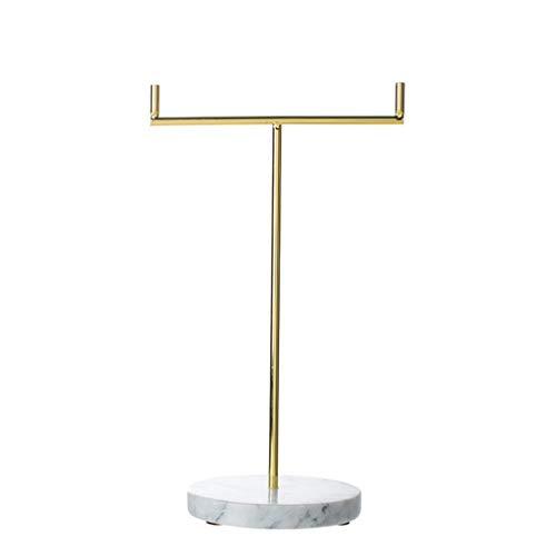 XUEXIU Bijoux Cadre Bijoux Cadre Accueil Protection De l'environnement Affichage des Bijoux en Marbre Support De Rangement Finition Rack Bijoux Environnement (Color : Gold, Size : 27 * 16 * 11CM)