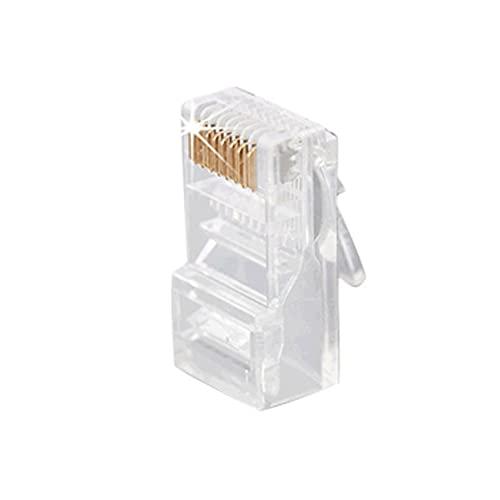 Moye 100 PCS Conectores RJ45 8P8C 3U CAT5e Enchufes de Cable Modular Enchufe de Red Ethernet Conector de Cristal Conectores RJ45