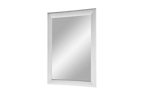 Duisburger-Rahmen24 Flex 35 - Specchio da Parete 80x160 cm con Cornice (Bianco Pino), Specchio su Misura con Striscia di Legno MDF da 35 mm di Larghezza e Parete Posteriore Robusta con Ganci