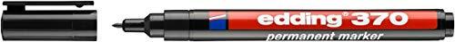 Edding 4-370001 370 Industry Permanent Marker - Dünne Rundspitze - Beschriftung von Karton, Metall, Gummi und Holz, schwarz