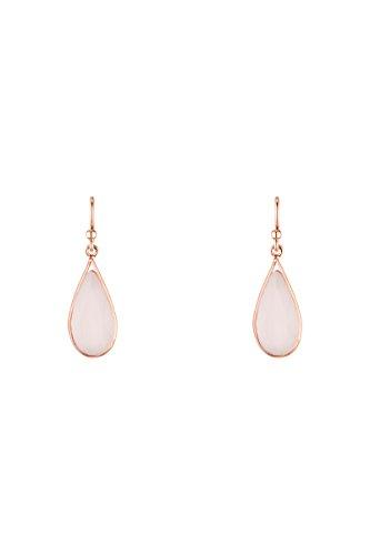 Córdoba Jewels | Pendientes en plata de ley 925 bañados en oro rosa con piedra semipreciosa. Diseño Lágrima Rosa de Francia Rose Gold