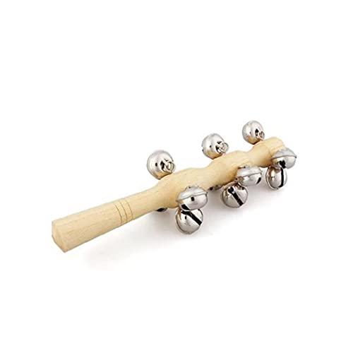 GGOOD Los niños del palillo de Madera 13 Jingle Bell Madera Sacudida de la Mano de Bell Instrumento confunde los Juguetes del Juguete del bebé