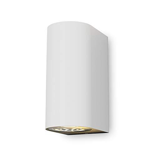 B.K.Licht - Aplique de pared con bombillas GU10 LED para interiores y exteriores de luz blanca cálida, con índice de protección IP44, 2 x 5 W, 400 lúmenes, 3000K, color blanco