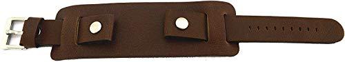 Cinturino per orologio da polso in pelle marrone pesante, 20 mm