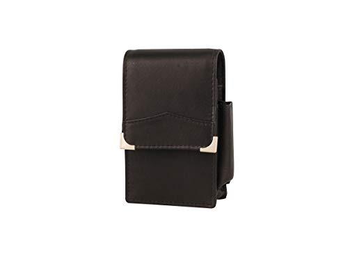 Zigarettenetui Monaco echt Leder Schwarz mit Steppnaht + Feuerzeug Tasche Gr. L (normal 85mm) + 100 mm - LK Trend & Style