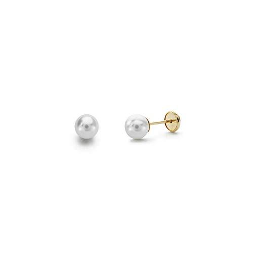 Monde Petit T1780P - Pendientes de bebe/niña oro 18 kts. gallon perla 4 mm.