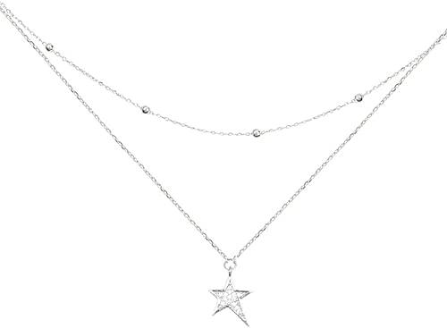 Collar Colgante De Plata De Ley 925 Estrella De Bola De Cristal Circón Collar De Medallón De Ángel Circón De Cristal Cuadrado Collar De Colgante De Plata De Ley 925 Adecuado Para Hombres Y Mujeres Mod