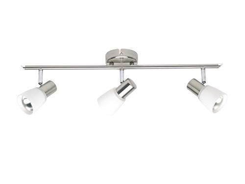 Brilliant Luca Spotbuis 3-polig plafondspot zwenkbaar ijzer/chroom/wit glas, 3x E14 geschikt voor reflectorlampen tot max. 40 W.