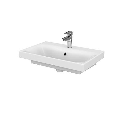 VBChome Kollektion Moduo slim 60 cm x 38 cm Waschtisch für Unterschrank Einbau Waschbecken mit Überlauf Weiß Keramik Waschtisch Handwaschbecken Design Einbau -Waschschale FÜR BADEZIMMER