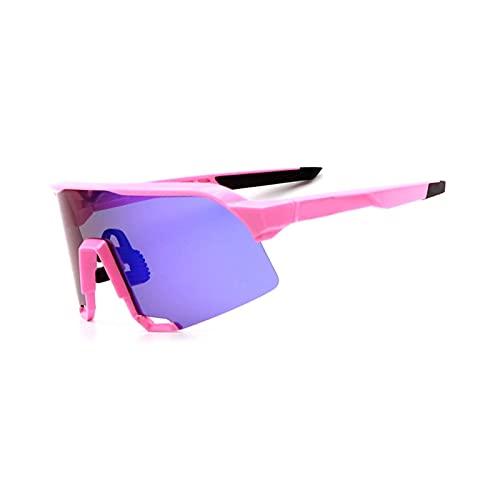 YSPS Gafas de Sol de Ciclismo Gafas de Sol polarizadas para Hombres Ciclistas Mujeres con 3 Gafas de béisbol de Lentes Intercambiables B