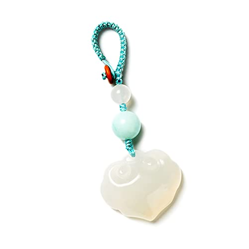 HYLR Llavero, Estilo Chino Tradicional, Material de Jade Natural, Tallado Artificial, símbolo de Suerte y Riqueza, Keychains