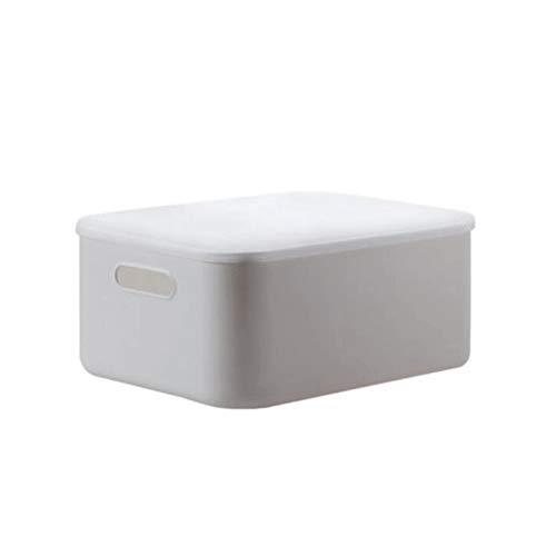 Hanpiyigzwl Cajas Almacenaje, Almacenamiento de plástico Caja de conserva con Tapa adjunta, 1PACK, Dimensiones del artículo: S 10.2x7x6.2in, M 14.3x10.2x6.2in, L 14.3x10.2x9.4in (Blanco)