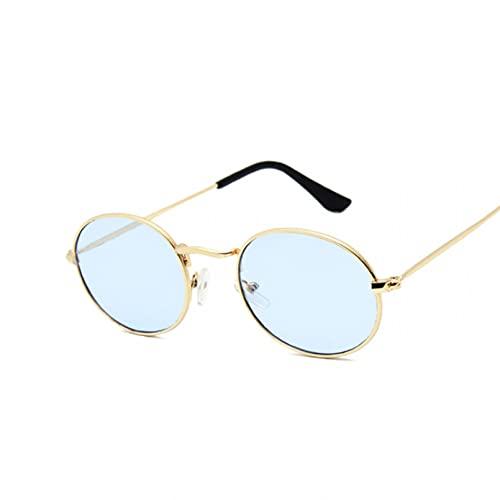 KUNIUO Gafas De Sol Retro con Montura Pequeña, Gafas De Sol De Metal con Espejo Ovalado para Mujer, Diseñador Vintage, Lunette De Soleil Femme-GoldBlue
