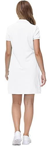 MoFiz Vestido de Polo Mujer Manga Corta Verano Algodón Trabajo Vestido Deportivo Tenis Golf Dress Blanco S