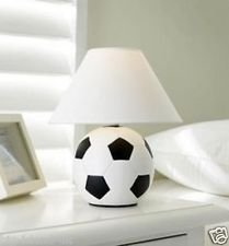 Goethic Kids Ceramic Football Study Bedroom Bed Side Table Desk Lamp & Shade