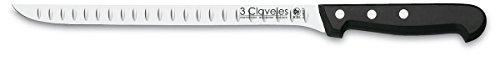 "3 Claveles - Cuchillo Jamonero Alveolado, Pulido Mate, Acero Inoxidable - (24cm - 9,5"")"