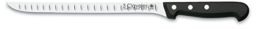 3 Claveles - Cuchillo Jamonero Alveolado, Pulido Mate, Acero Inoxidable - (24cm...