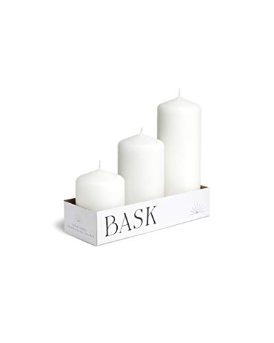 Cone Top Pillar Candles by Bask - Set of 3 - 3' x 4', 6', and 8' Dripless Unscented Candles in White for Home Decor, Relaxation & All Occasions