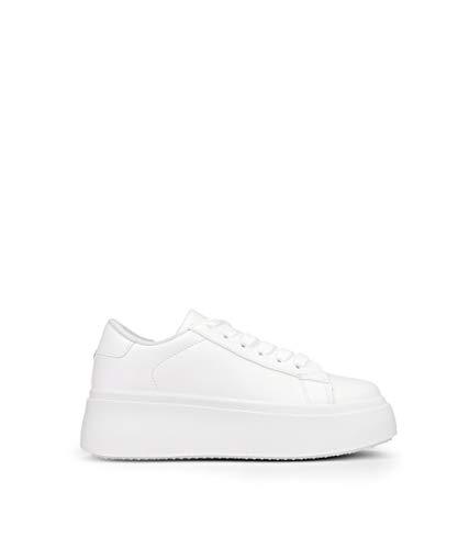 BOSANOVA Zapatillas Blancas con Plataforma 5 cm y Cordones para Mujer | Bambas Total Look Blanco. Blanco 39 (Calzan pequeñas)