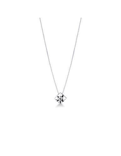Gioielli di Valenza - Collana Punto Luce a griffes Grande in Oro Bianco 18k con Diamante - 5PROMO