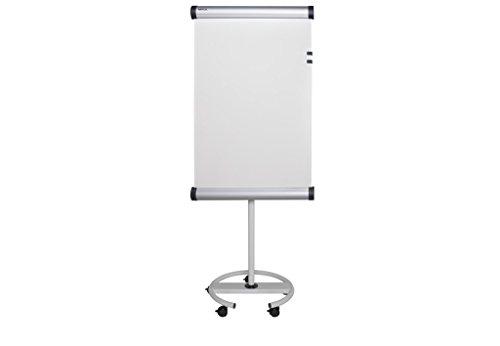 MAUL Flipchart flip2use, Rundfuß mit 5 Rollen, Kunststoffbeschichte drehbare Projektionstafel 66 x 97 cm, Mit Blockhalter und großer Ablageschale, 6370682, 1 Stück