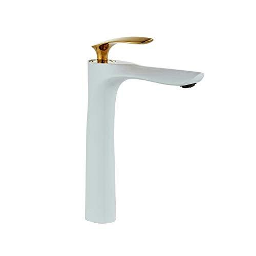 Grifos de lavabo Grifo para baño Grifo monomando Oro blanco cromado Grifo alto para baño Un agujero Montaje en cubierta Lavabo doble colores Leekayer