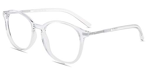 Firmoo Gafas Luz Azul para Mujer Hombre, Gafas Filtro Antifatiga Anti luz Azul y contra UV400 Ordenador de Gafas Montura TR90 para Protección los Ojos, L9913 Transparentes Blanco