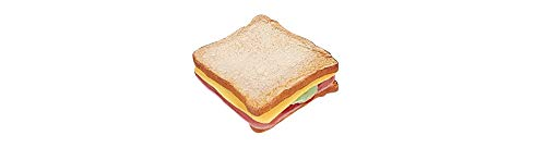 ERRO Sandwich Toast mit Käse und Schinken aus hartem Kunststoff - 15530, Bäckerei Dekoattrappe, Lebensmittelnachbildung Brot, Fake Food, Theater Requisite