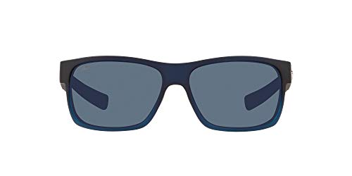Costa Del Mar Men s Half Moon Polarized Rectangular Sunglasses, Bahama Blue Fade Grey Polarized-580P, 60 mm