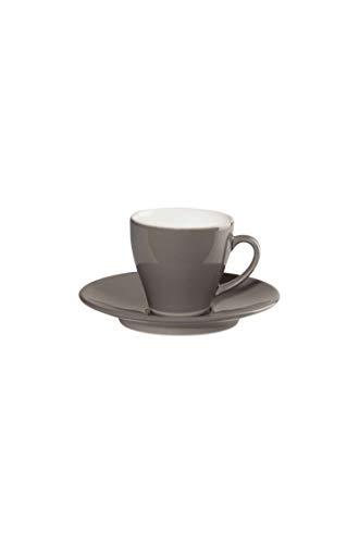 ASA 22010127 Lot de 6 tasses à expresso avec sous-verres Taupe Diamètre 6,3 cm Hauteur 6 cm 0,1 l