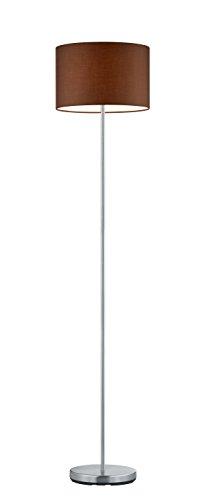 lightling modern Stehleuchte in nickel matt, Stoffschirm braun, 1 x E27 max. 60W, ø 35 cm, Höhe: 160 cm