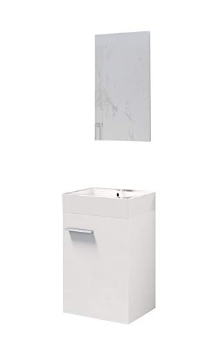 Baikal 280034043 Mueble de baño Lavabo cerámico y Espejo, de una Puerta, Ideal para aseos o baños pequeños, Melamina 16, Blanco Mate, cm