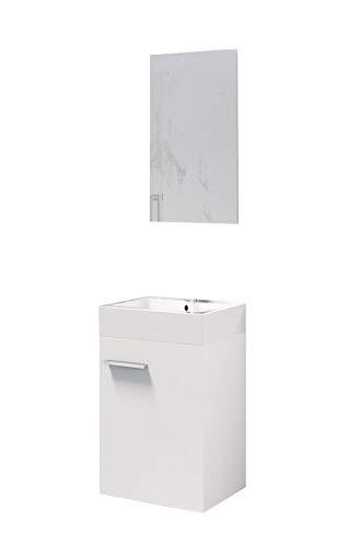 Baikal 280034043 Mueble de baño Lavabo cerámico y Espejo, de una Puerta, Ideal para aseos o baños pequeños, Melamina 16, Blanco Mate, cm, 45 x 36 x 60 cm