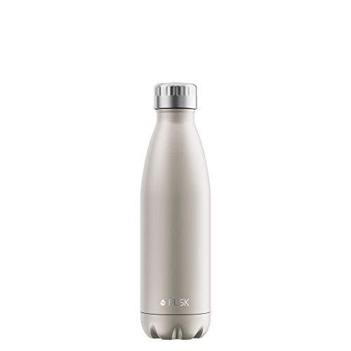 FLSK Das Original New Edition Edelstahl Trinkflasche • 500ml • Kohlensäure geeignet • Die Isolierflasche hält 18 Stunden heiß und 24 Stunden kalt • ohne BPA und rostfrei • Champagne