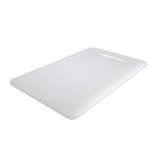 Plastic Utility Cutting Board with Handles, Food Safe PP Material, Zeffy BPA Free, Dishwasher Safe, Thick Chopping Board, Large Size (15.5 x 10), Easy Grip Handle, for Kitchen (White)