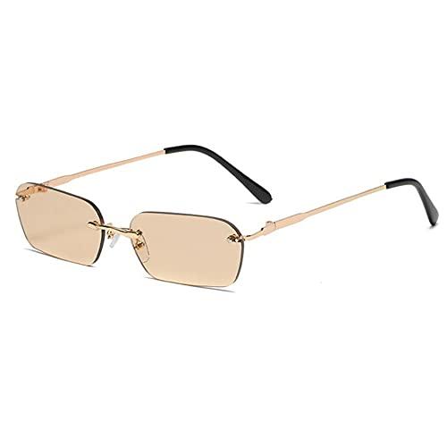NLJ-lug Gafas De Sol Cuadradas Sin Montura Para Mujer, Gafas De Sol Con Lente Transparente Vintage Para Mujer, Rectángulo