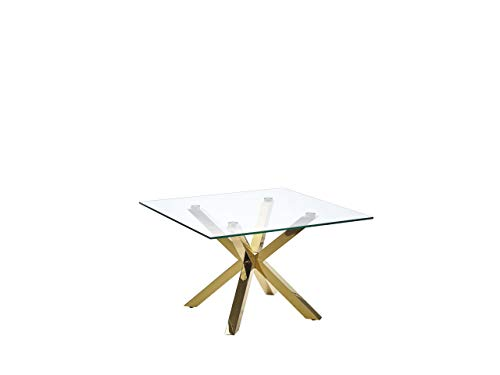 Beliani - Table Basse - Starlight - Carré, 70 x 70 cm, en Verre et INOX, Transparent et Doré