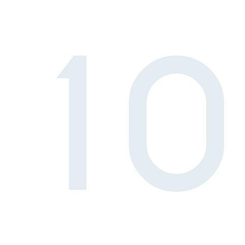 Zahlenaufkleber Nummer 10, weiß, 20cm (200mm) hoch, Aufkleber mit Zahlen in vielen Farben + Höhen, wetterfest