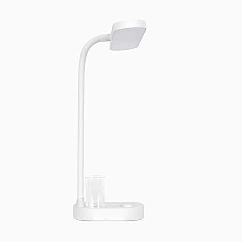 Lámpara Escritorio LED Lámpara de escritorio LED con 3 niveles de brillo dimmable 180 ° Lámpara flexible de escritorio de cuello de ganso con puerto de carga USB, soporte para teléfono y soporte de pl