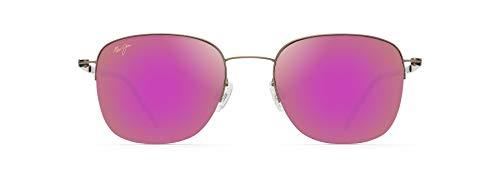 Maui Jim Crater Rim - Gafas de sol cuadradas, rosa (Satén Sepia/Maui Sunrise Polarizado), Small