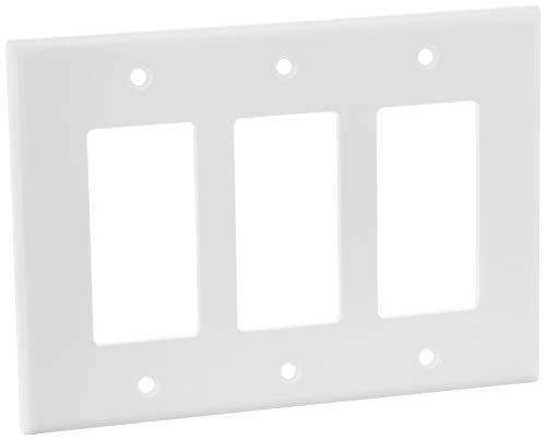 Leviton 80611-W 3-Gang Decora/GFCI Device Wallplate, White