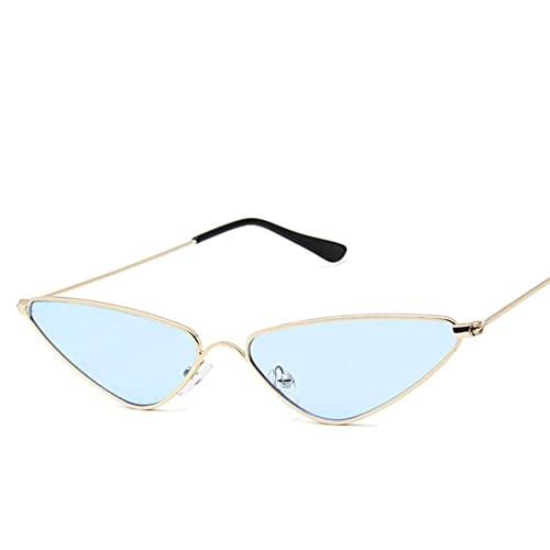 UKKD Gafas De Sol Mujeres Pequeño Marco Gafas De Sol Moda Triángulo Marco De Metal Gafas Popular Multicolor-Gold Blue