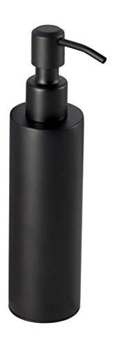 Ambrosya - Freistehender Seifenspender aus Edelstahl in Schwarz - Bad Badezimmer Halter Halterung Seife Seifenhalter Seifenhalterung Seifenschale Spender WC (Edelstahl (Schwarz), Rund)